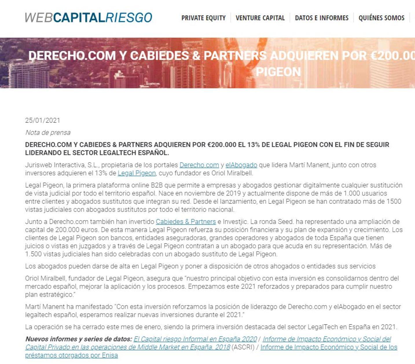 Web Capital Riesgo Legal Pigeon abogado sustituto