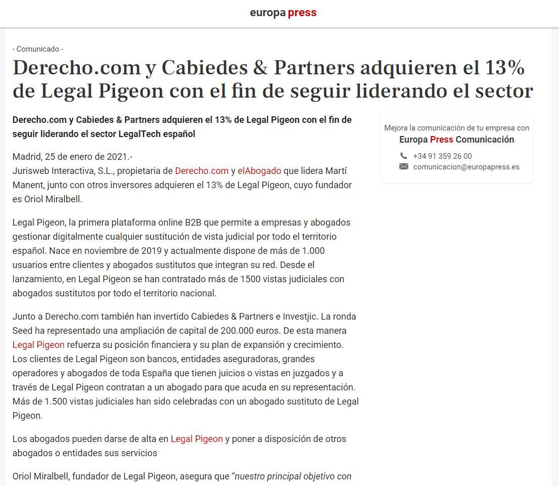en Europa Press Legal Pigeon abogado sustituto